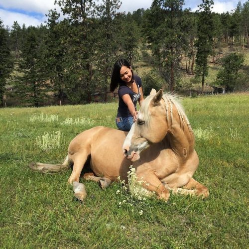 Angela M. Gee and her mare, China